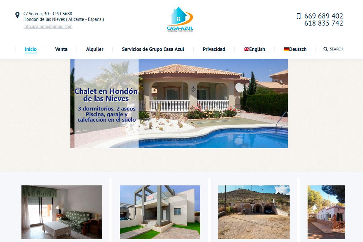 desarrollo página web de inmobiliaria casa-azul.es