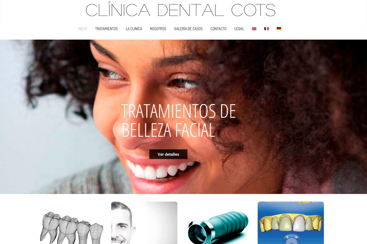 Desarrollo de página web de una clínica dental clinicadentalcots.es