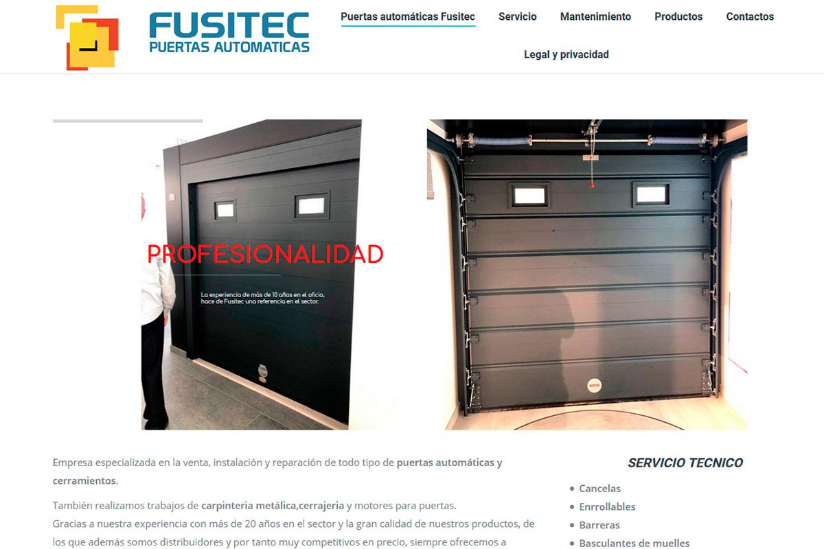 Desarrollo de página web de una empresa instaladora de automatismos: Puertasautomaticasfusitec.com