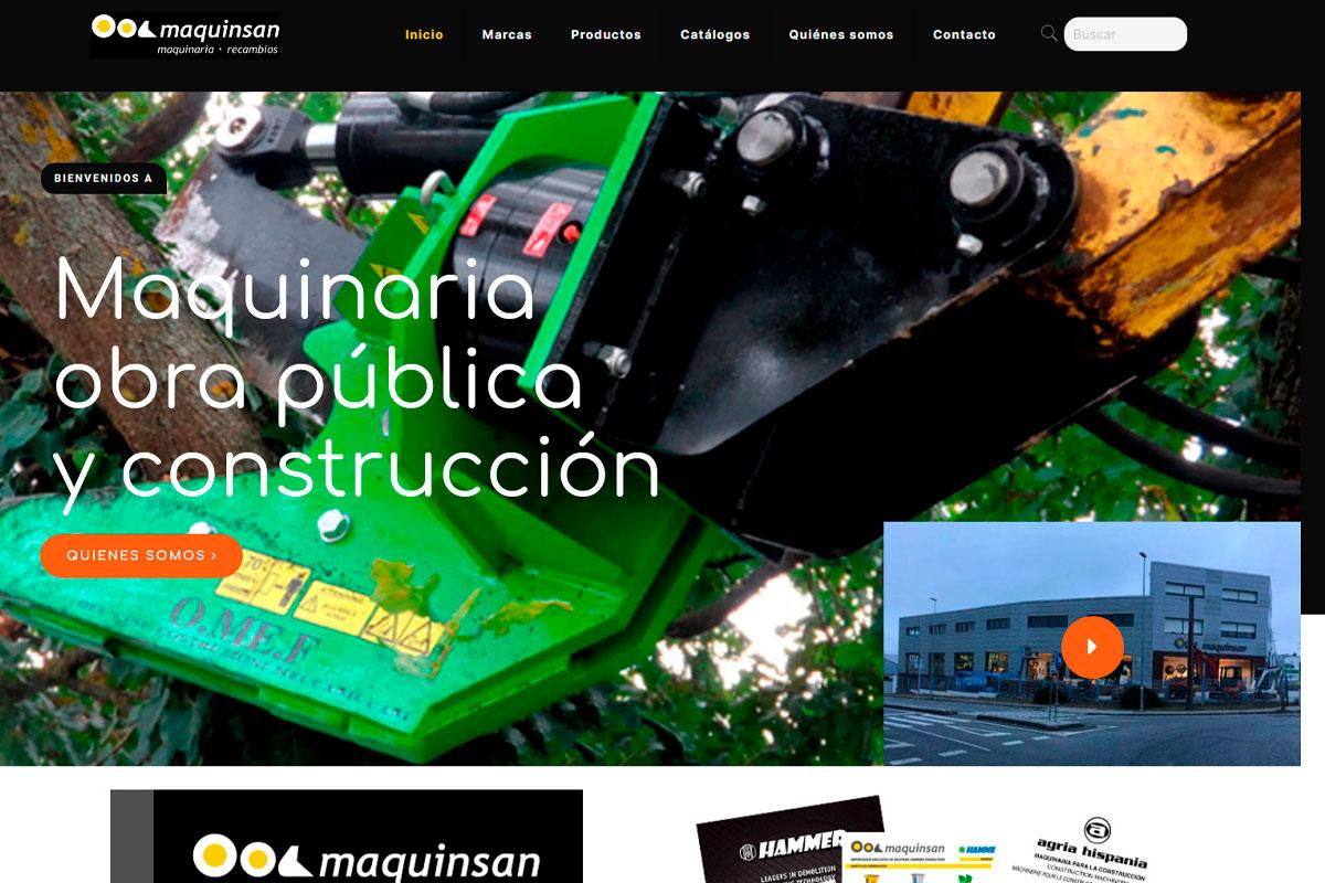 desarrollo página web de una empresa de venta de maquinaria agrícola: maquinsan.com