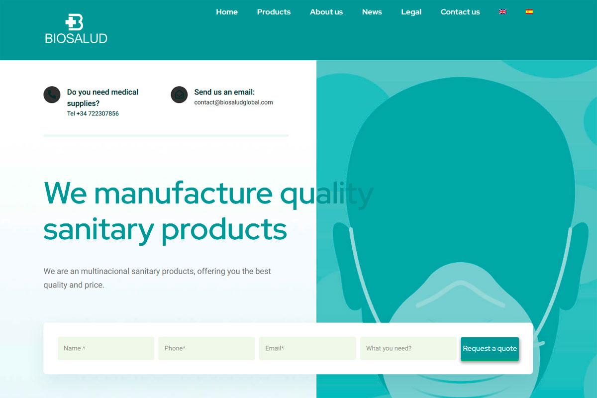 desarrollo página web empresa multinacional productos sanitarios Biosalud