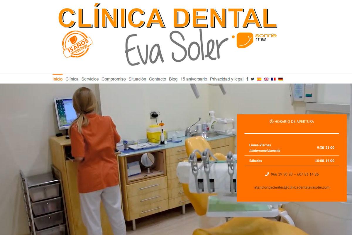 Desarrollo de página web de una clínica dental clinicadentalevasoler.com