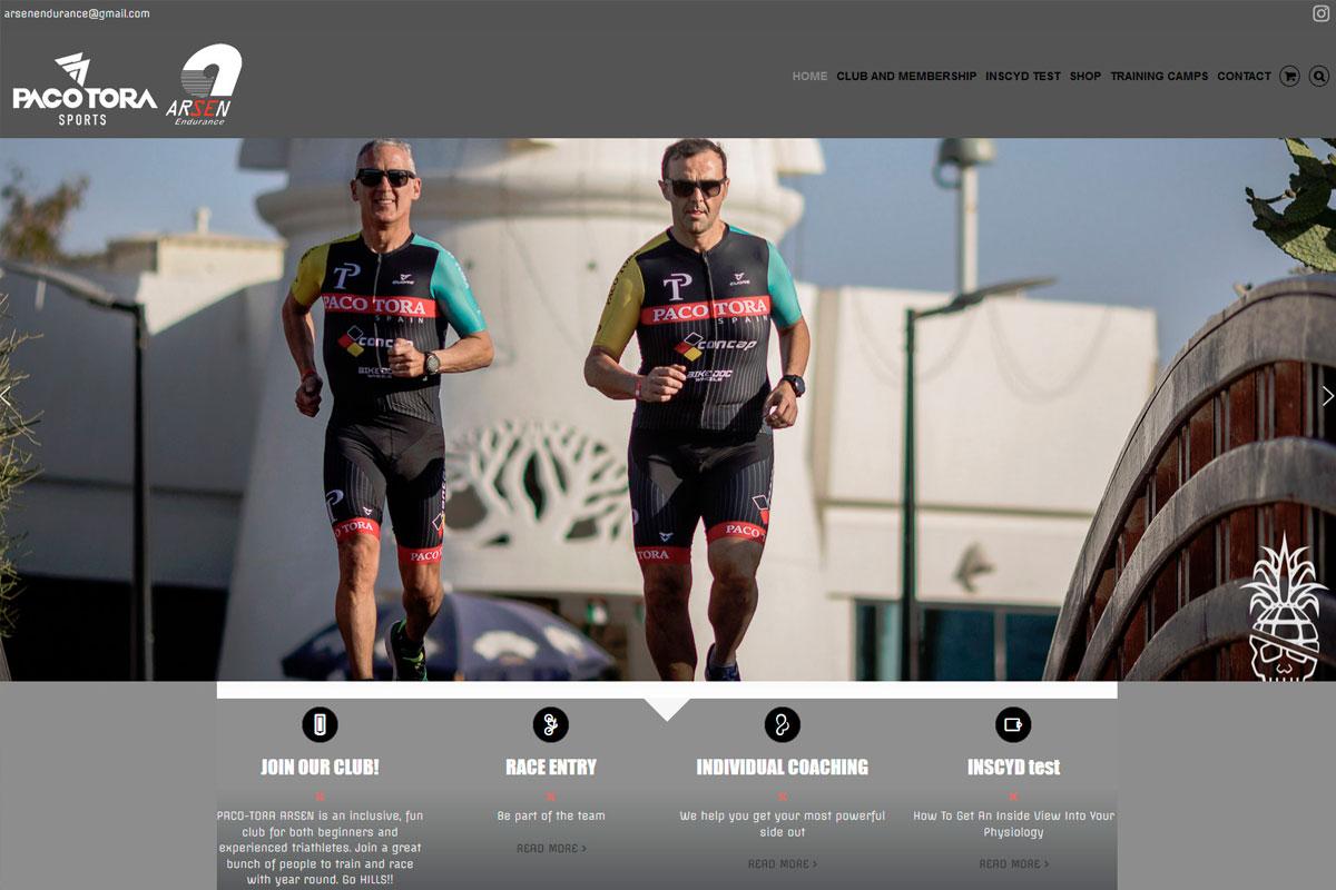 Desarrollo de página web deun club deportivo internacional de thriathlon: pacotora-arsen.com